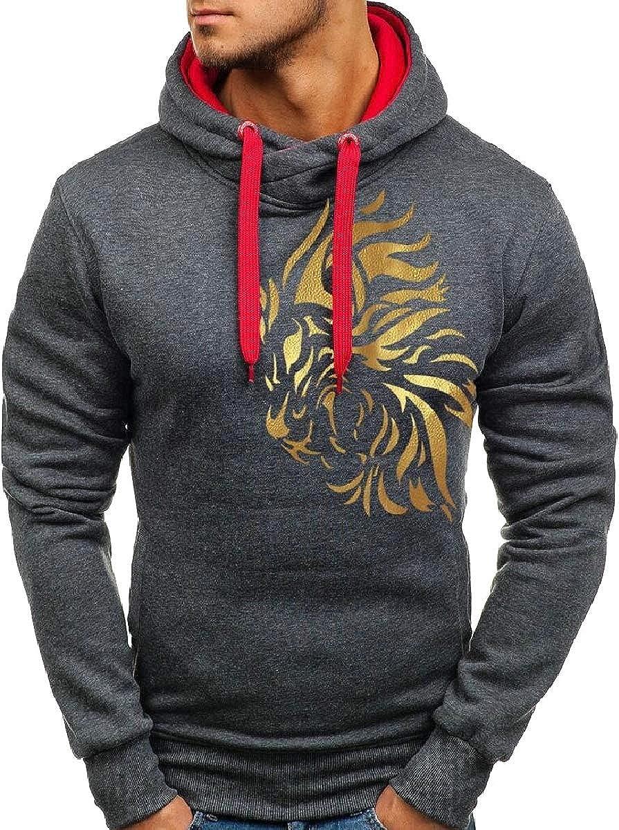 YIhujiuben Mens Autumn Long Sleeve Tiger Print Hoodie Hooded Sweatshirt Outwear