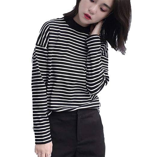 Amazon Com Women Turtleneck Korean Style T Shirt Harajuku Crop Top