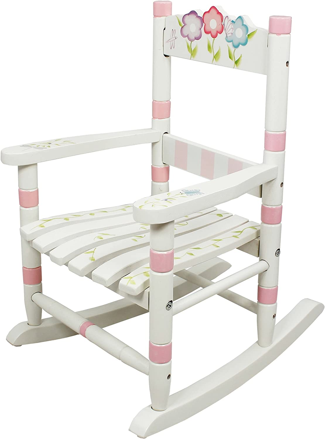 Teamson Design Corp Fantasy Fields - Bouquet Thematic Child Wooden Small Rocking Chair, Imagination Inspiring Hand Crafted & Hand Painted Details Non-Toxic, Lead Free Water-Based Paint