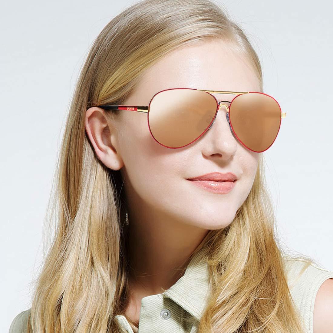 BOYOU Occhiali Da Sole Polarizzati Vintage Retr/ò Da Pilota Con Cerniera a Molla Per Occhiali UV400 Per Uomo e Donna