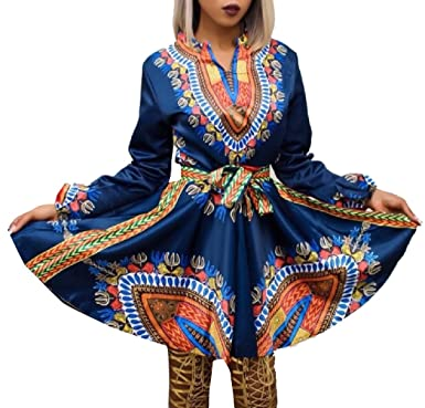 35808087f1276 Tootless-Women African Print Mid-Length Tie Waist Vintage Swing Dress Blue  XS