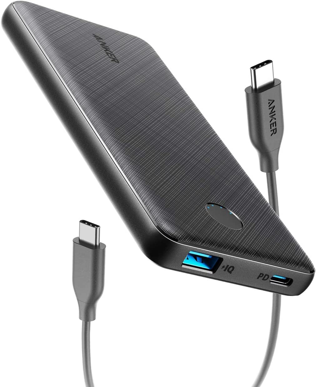 Anker PowerCore Slim 10000 PD, USB-C Power Bank (18W), 10000mAh Power Delivery Portable Charger for iPhone 8/8+/X/XS/XR/XS Max, Samsung S10, Pixel 3/3XL, iPad Pro 2018, and More (Charger Not Included)