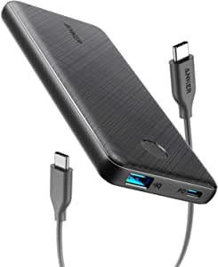 Anker USB-C Portable Charger, 18W PowerCore Slim 10000 PD, 10000mAh Power Delivery Power Bank for iPhone 12/Mini/X/XR/XS Max, S10, Pixel 3/3XL, iPad Pro 2018, and More (Charger Not Included)