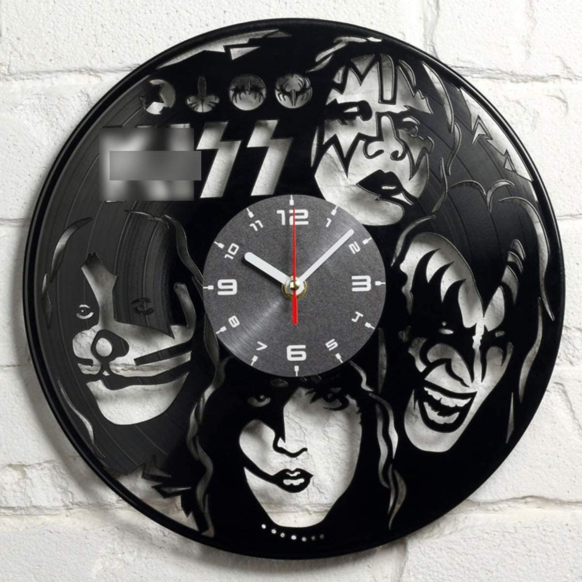 """JX-PEP 12"""" Vinyl Wall Clock Compatible with Kiss Rock Band Themed Vintage Home,Gift Set Idea for Retro Rock Music Lovers, Men, Women, Her, Him - Room Decorations Wall Art Decor"""