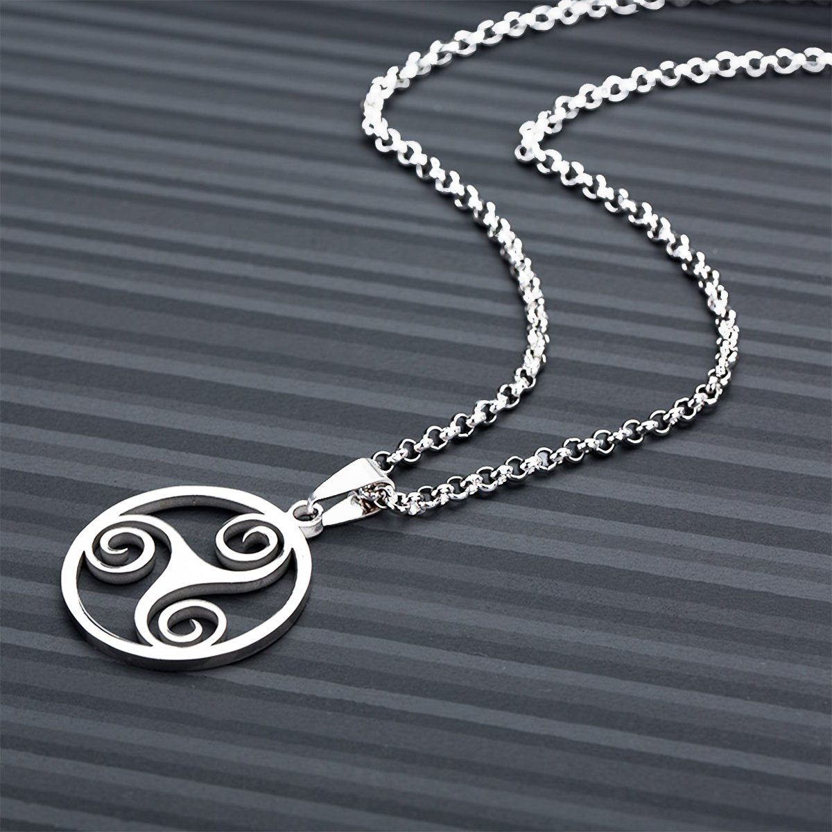 Amazon Handicraft Stainless Steel Viking Triskele Necklaces