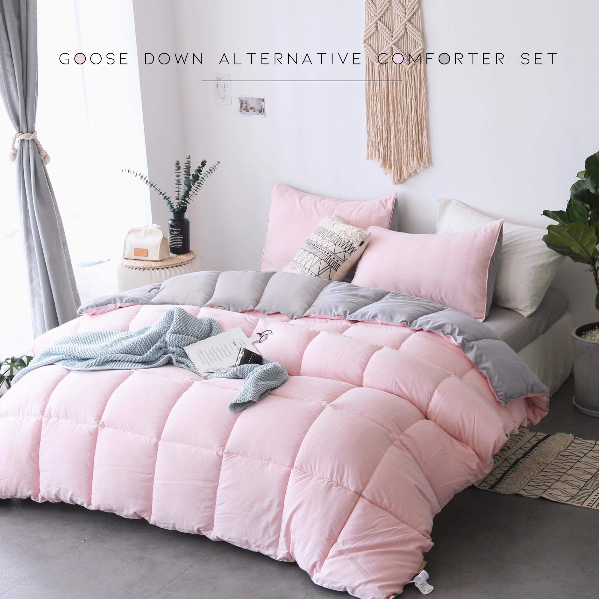KASENTEX All All Season Down Down Alternative Quilted Comforter Set with Sham(s) - Reversible Ultra Soft Duvet Insert Hypoallergenic Machine Washable, Pink Potpourri/Quartz Silver by KASENTEX (Image #4)