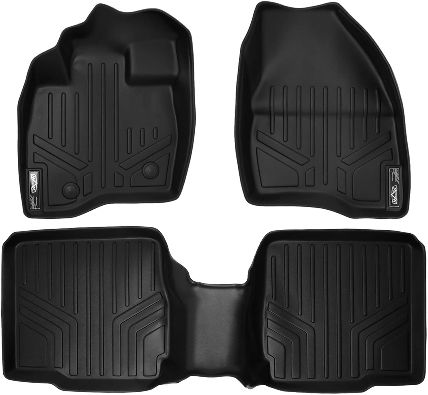 SMARTLINER Custom Fit Floor Mats 2 Row Liner Set Black for 2015-2016 Ford Explorer with 2nd Row Center Console