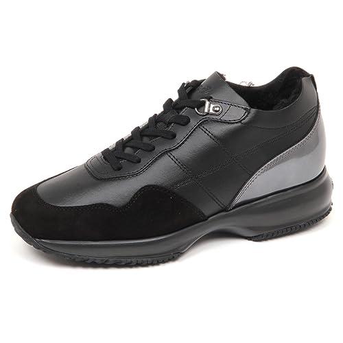 Hogan E4818 Sneaker Donna Nero Interactive Scarpe Interno