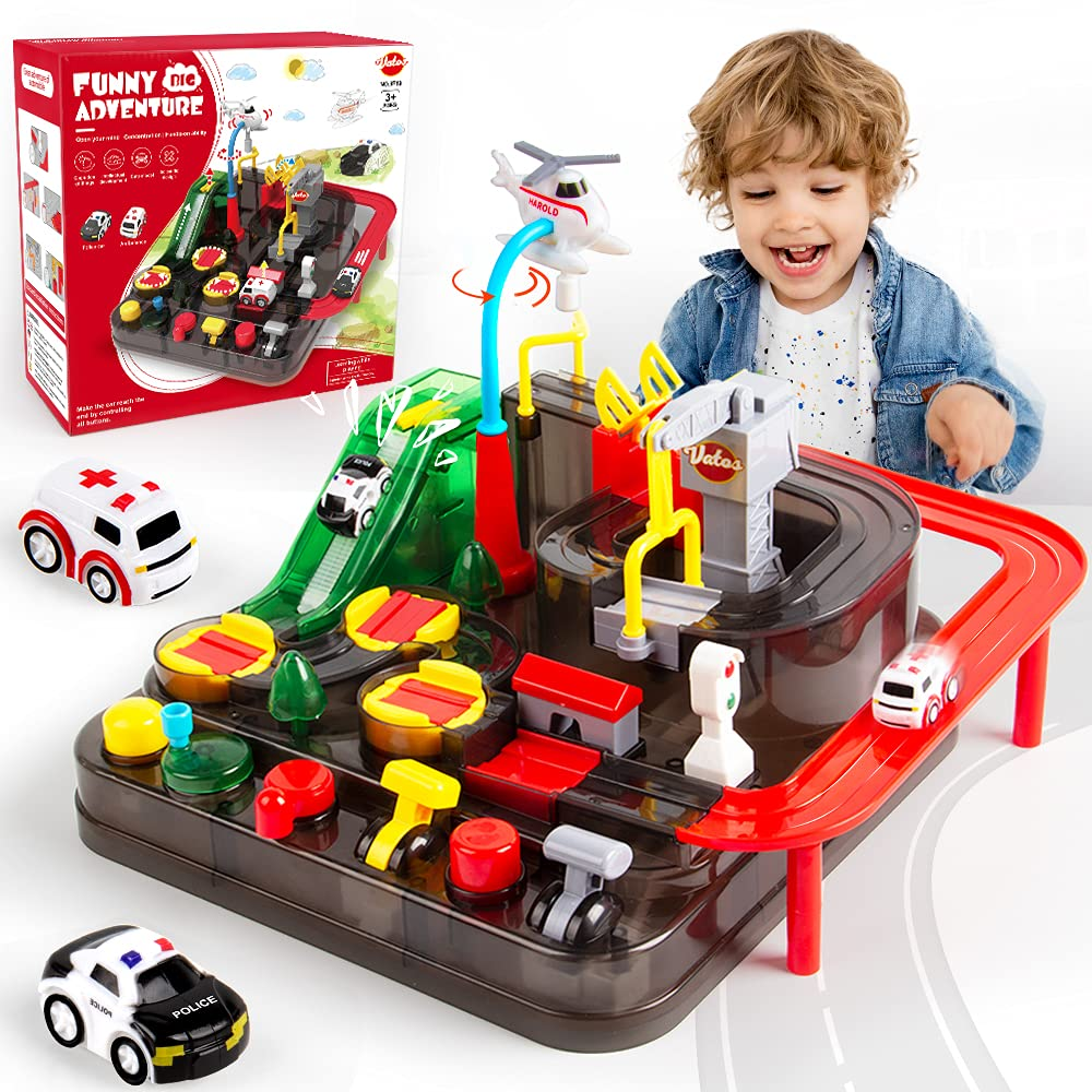 VATOS Car Race Track Toys for 3 4 5 6 7 8 Year Old Boys Girls Car Adventure Toys for Kids Intelligence Educational Puzzle Car Playsets Engineering Toy Vehicles Preschool Best Gift for Kids Age 3+