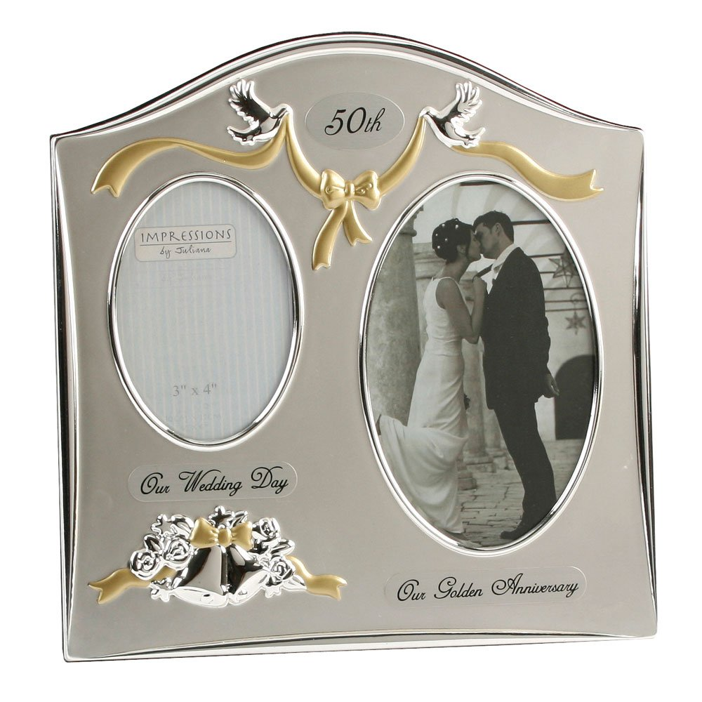Two Tone Silverplated Wedding Anniversary Gift Photo Frame 50th Golden Anniversary
