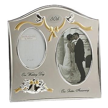 Juliana Marco de fotos para de bodas de oro (50 aniversario), color plateado: Amazon.es: Hogar
