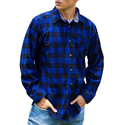 Janmid Men's Button Down Regular Fit Long Sleeve Plaid Flannel Casual Shirts: Clothing