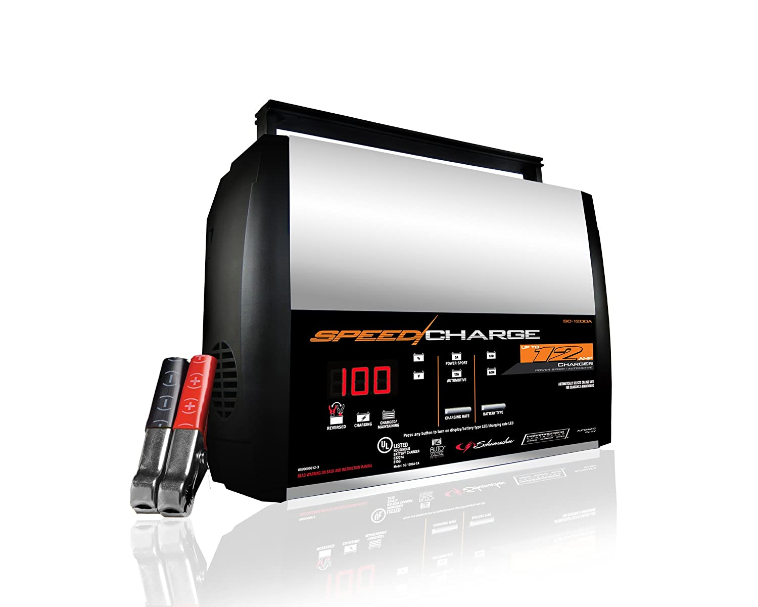 Schumacher Sc 1200a Ca Speedcharge 12amp 6 12v Fully Dry Cell Battery Diagram Marine And Car Batteries Automatic Charger Automotive