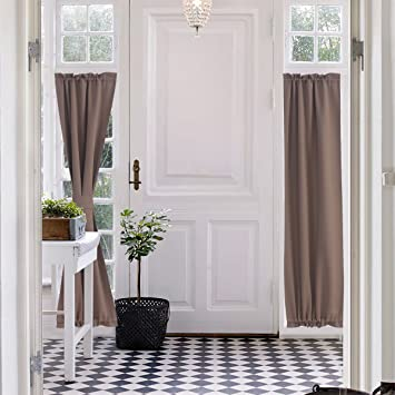 Patio Door Curtain Panel.Aquazolax Blackout Patio Door Curtain Panels Plain Thermal Insulated Blackout Curtains Drapes 25 X72 For French Glass Doors 1 Pair Taupe Khaki