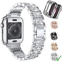Firsteit do Apple Watch Band Series 6 40 mm pasek z etui, diament kryształ górski metalowa opaska błyskotka zapasowa…