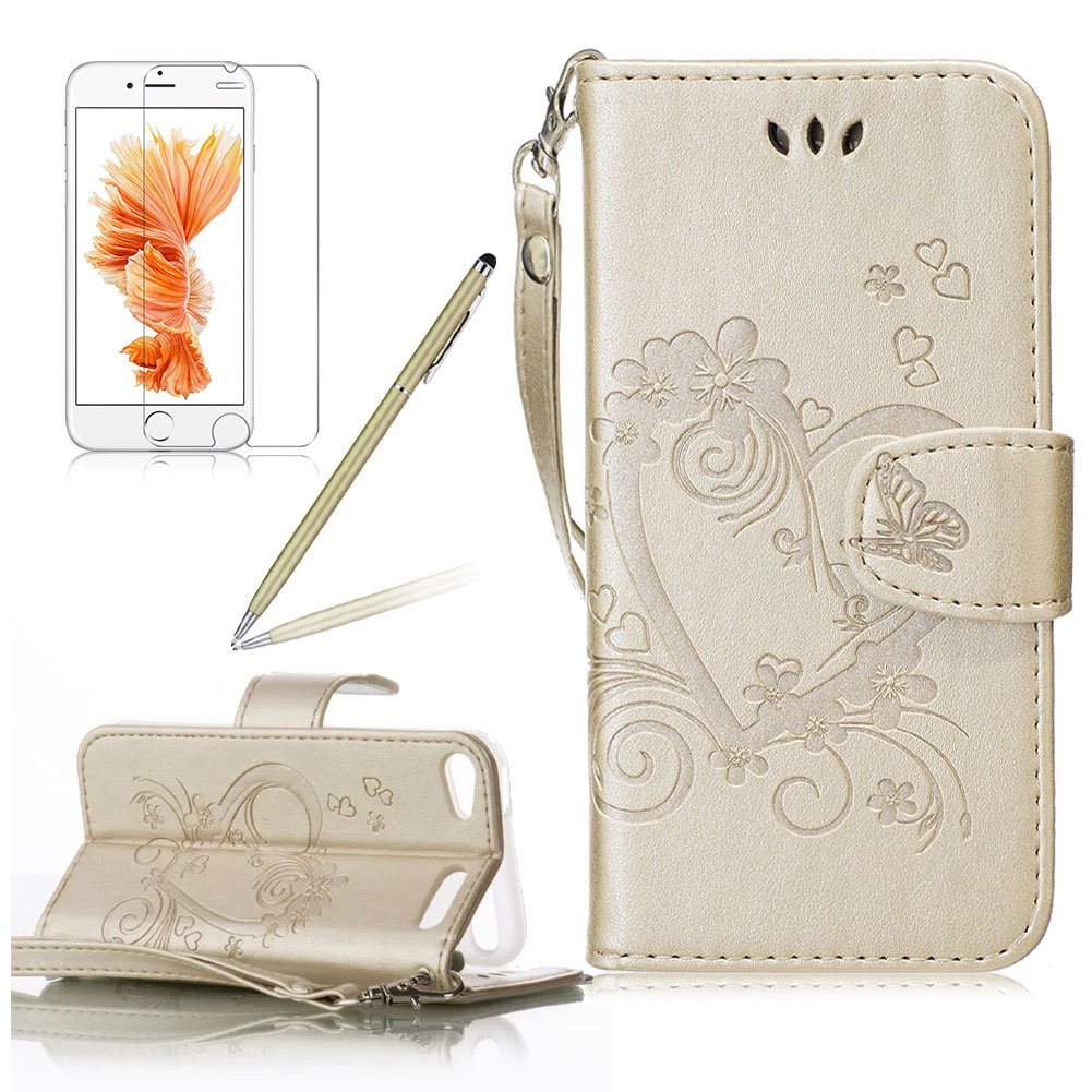 Girlyard for iPod Touch 5th / 6th Generation Wallet Leather Case,Love Heart Floral Butterfly Design Premium Soft PU Leather +TPU Silicone Inner Bumper Flip Case Magnetic Wallet Full Protection Case Cover with Magnetic Clasp, Wrist Strap and Card Slots Hold