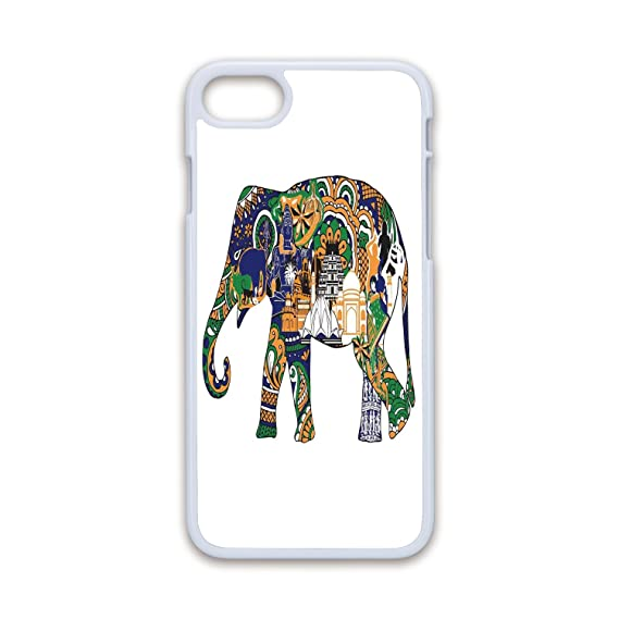 Phone Case Compatible with iPhone7 iPhone8 White Soft Edges 2D  Print,Elephant,Elephant with