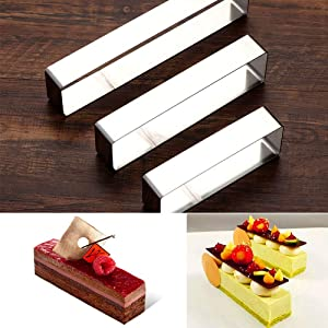 lkjf Mousse Mold 3-piece Set, Rectangle Ring Bakeware Tiramisu Cake Baking Cookie Cutters