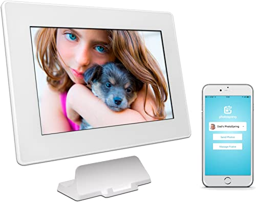 PhotoSpring 32GB 10-inch WiFi Cloud Digital Picture Frame – Battery, Touch-Screen, Plays Video and Photo Slideshows, HD IPS Display, iPhone Android app White – 32,000 Photos