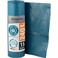 Hinrichs Bolsas de Basura Grandes y Resistentes - Bolsas Basura 240 Litros - Rollo de 15 Bolsas Basura Grandes - 70 μ…