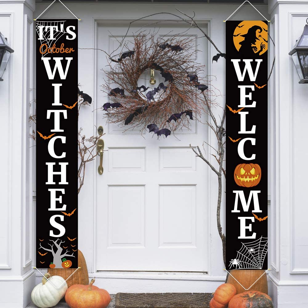 Ivenf Halloween Porch Sign Banners Set 2 Pcs, It's October Witches & Welcome Hanging Decorations for Home Outdoor Indoor Wall Front Door Decor