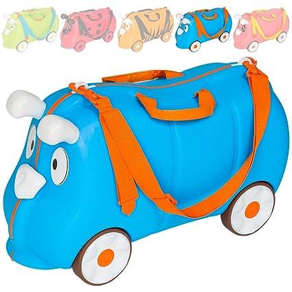 TecTake Maleta de Viaje con Ruedas para niños Coche Infantil Caja de juguettes (Azul |