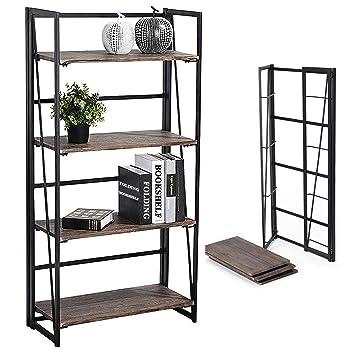 Coavas Folding 4-Tier Bookshelf