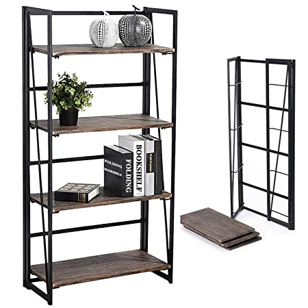 Coavas Folding Bookshelf Rack 4-Tiers Bookcase Home Shelf Storage Rack No-Assembly Industrial Stand Sturdy Shelf Organizer 23.6 X 11.8 X 49.4 Inches