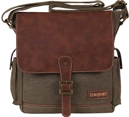 982355777729 Image Unavailable. Image not available for. Color  Eurosport Canvas Extra  Large Top Flap Messenger Bag Olive ...