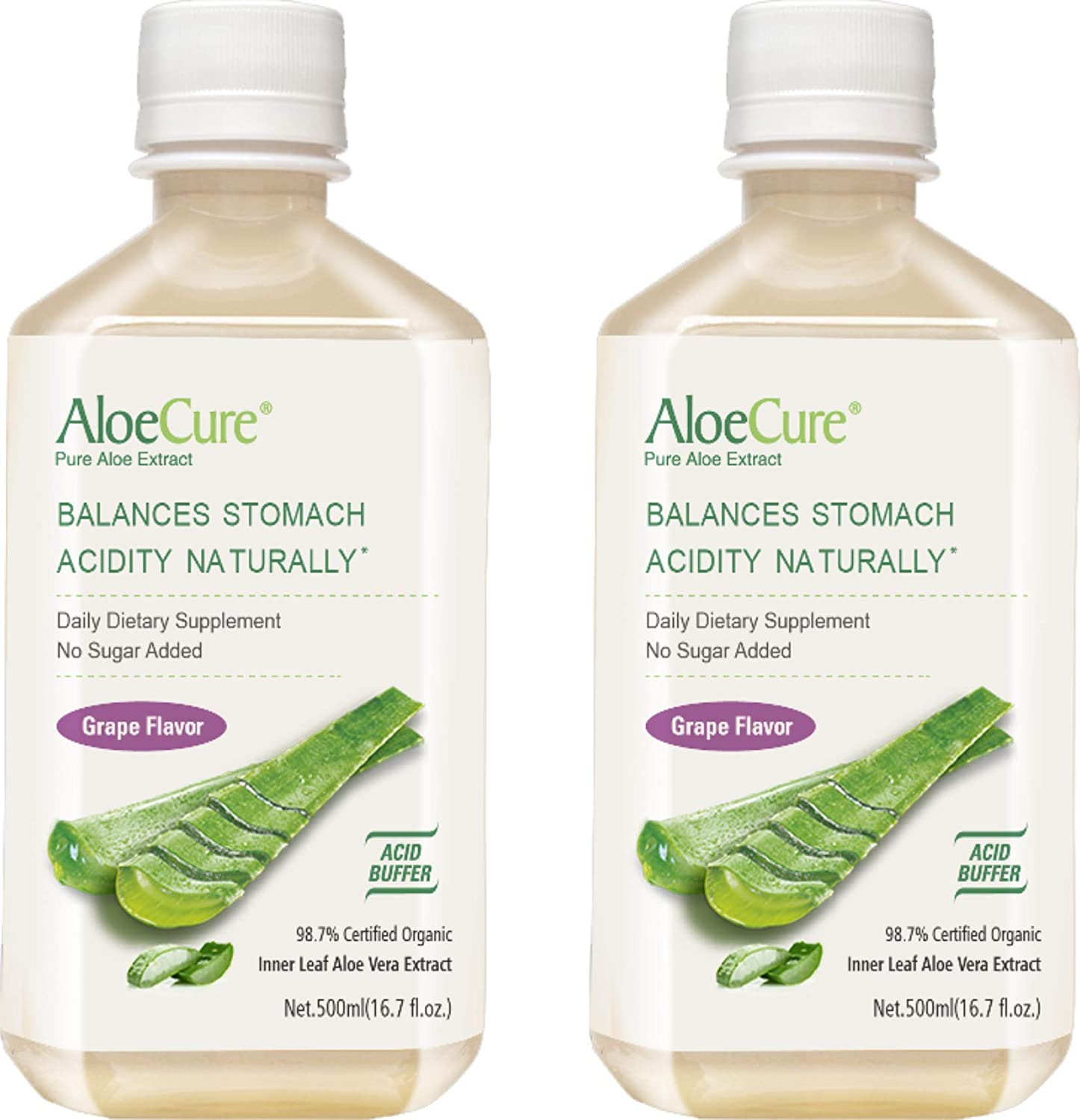 AloeCure Pure Aloe Vera Juice Grape Flavor 2x500ml Bottles, Acid Buffer, Certified Organic Aloe Processed Within 12 Hours of Harvest to Maximize Nutrients, No Charcoal Filtering-Inner Leaf