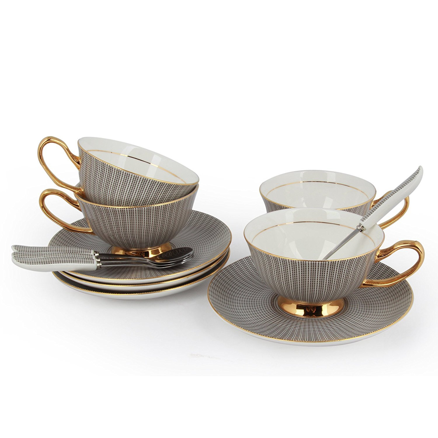 Set of 4 NDHT Bone China Teacups/Coffee Cups & Saucers Sets with Spoons-10.2Oz, for Home, Restaurants, Display & Holiday Gift for Family or Friends,Black,With two Gift Boxes