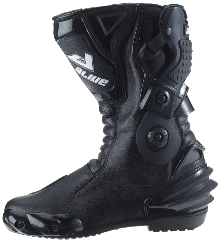 Groesse 45 Schwarz Wasserabweisend aus schwarzem Leder mit aufgesetzten Hartschalenprotektoren Protectwear TS-006-45 Motorradstiefel Racing aliue