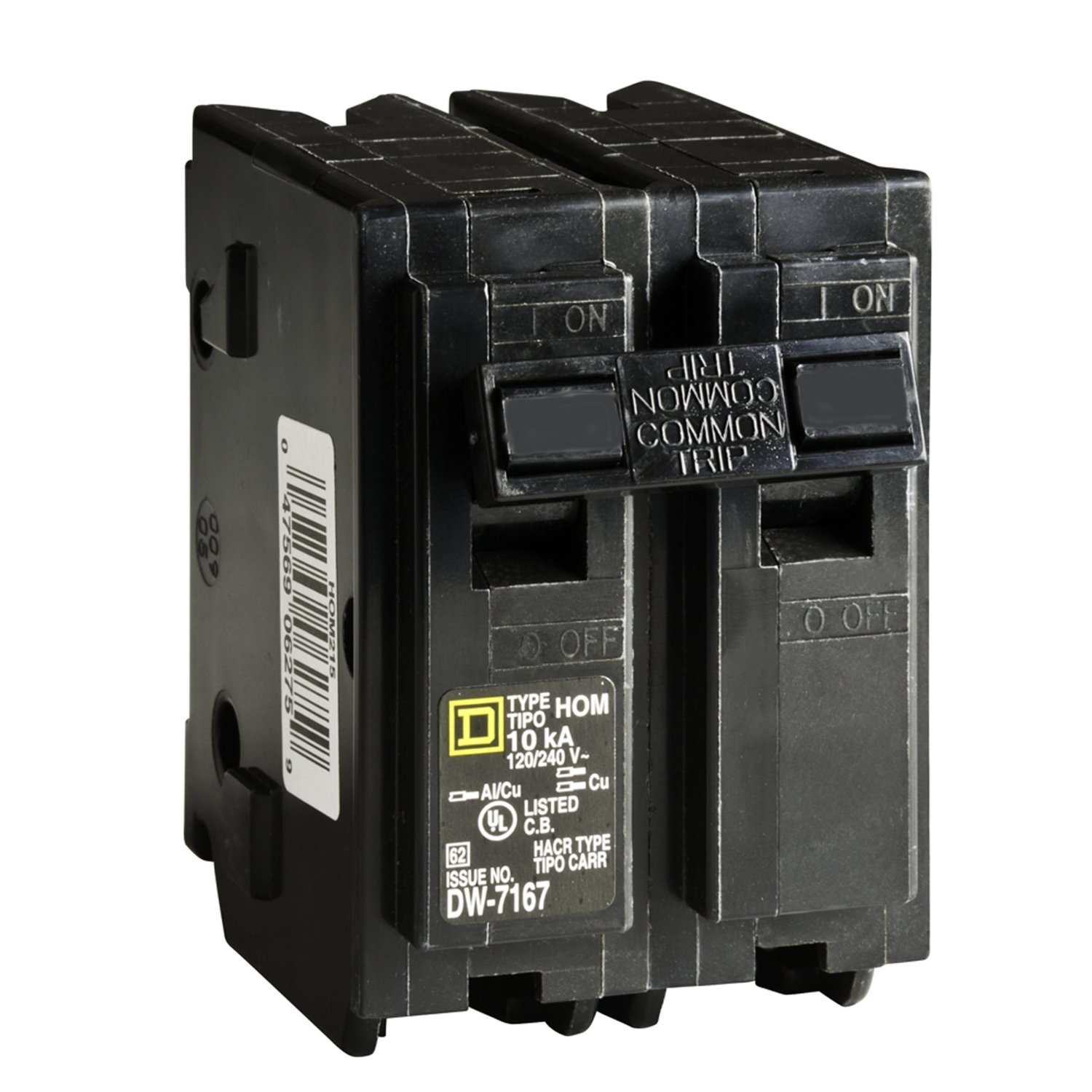 Square D Circuit Breaker, 45 Amp, 2-Pole, HOM245 - Magnetic Circuit ...