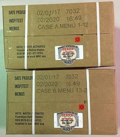 MRE 2020 caja de fecha de inspección, 12 comidas con fecha ...