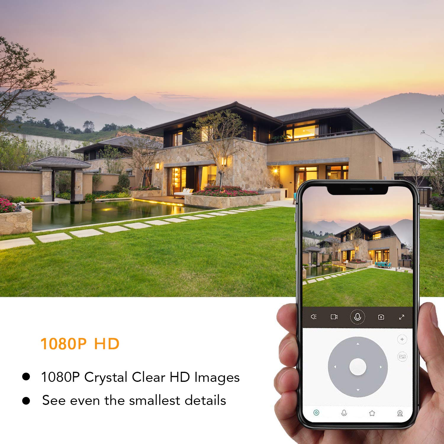 Outdoor Security Camera, WiYA 1080P HD Outdoor Surveillance Cameras with Dual Light Night Vision, Motion Detection, Two-Way Audio, IP66 Waterproof, Wired or WiFi Outdoor Camera