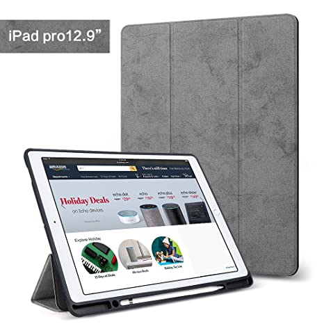 wholesale dealer ef5cb 2cb4f iPad Pro 12.9 Case with Pencil Holder, Lightweight Smart Case Trifold Stand  with Auto Sleep/Wake Function, Microfiber Lining, Flexible Soft TPU Back ...