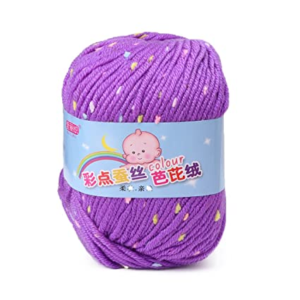 afb480d38 Amazon.com  Shaoge Soft Color Point Silk Protein Yarn Crochet ...