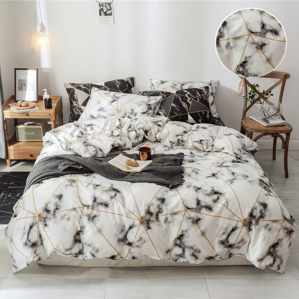 3pcs Duvet Cover Queen Cotton Duvet Cover White Plaid Marble Comforter Cover Full Modern Home Bedding Set with Ties for Girls Boys Men Women,NO Comforter NO Sheet