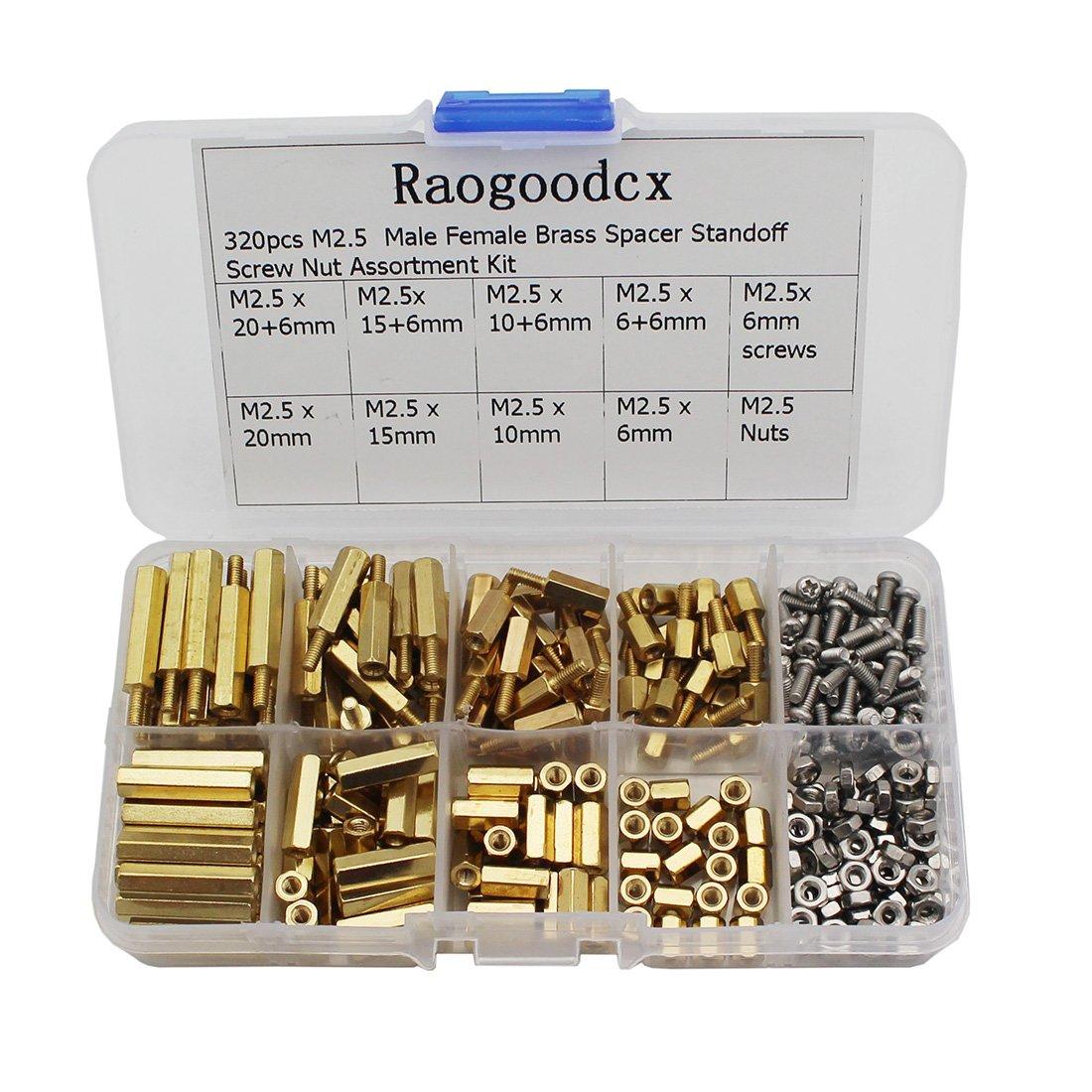 Raogoodcx 320Pcs M2.5 Male Female Brass Spacer Standoff Screw 6mm 10mm 15mm 20mm Nut Assortment Kit Raogoodcx® NUT-BM2.5