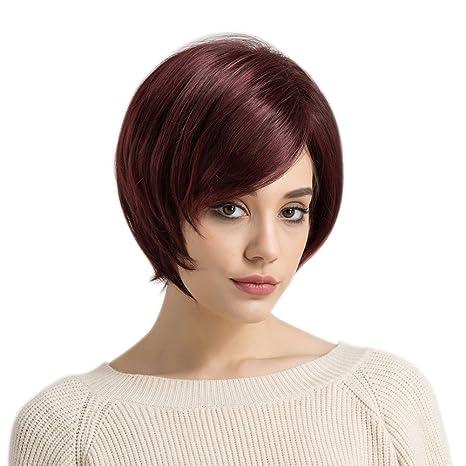PerGrate Peluca Corta para Mujer Peluca Lisa y esponjosa para Disfraz de Fiesta, Rojo Vino