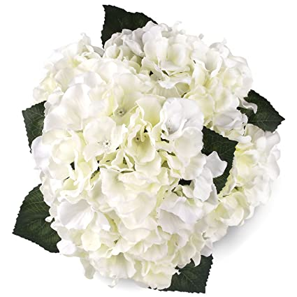 Amazon Silk Hydrangea White 5 Heads SOLEDI Artificial Flower Arrangements Bunch Bridal Bouquet Wedding Party Garden Home Decor Kitchen