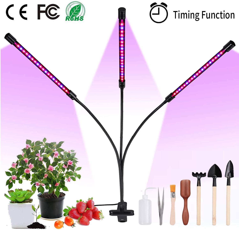 Justech 30W 60 LED Lámpara de Plantas con Luz Rojo Azul y Temporizador Automático 3/9 / 12H Rotación de 360° Ajustable 8 Niveles Regulables con 7 Piezas de Suculentas Herramientas de Trasplante
