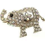 Cristal aurore boréale Argent Broche en forme d'éléphant
