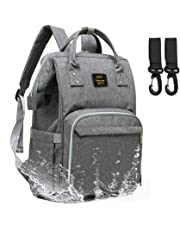 Diaper Bag Backpack, WJASI Multi-Function Waterproof Travel Backpack Nappy Bags for Baby Care, Large Capacity, Stylish and Durable (Gary)