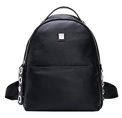 a5ba3dcd90c8 Fiswiss Women s Genuine Leather Fashion Backpack Everyday Purse (Black)