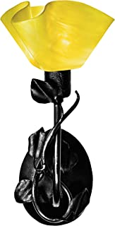 product image for Jezebel Radiance BRSC-B-MA-LP12-CAN Lily Style Black Branch Sconce with Magnolia Leaves, Canary Yellow