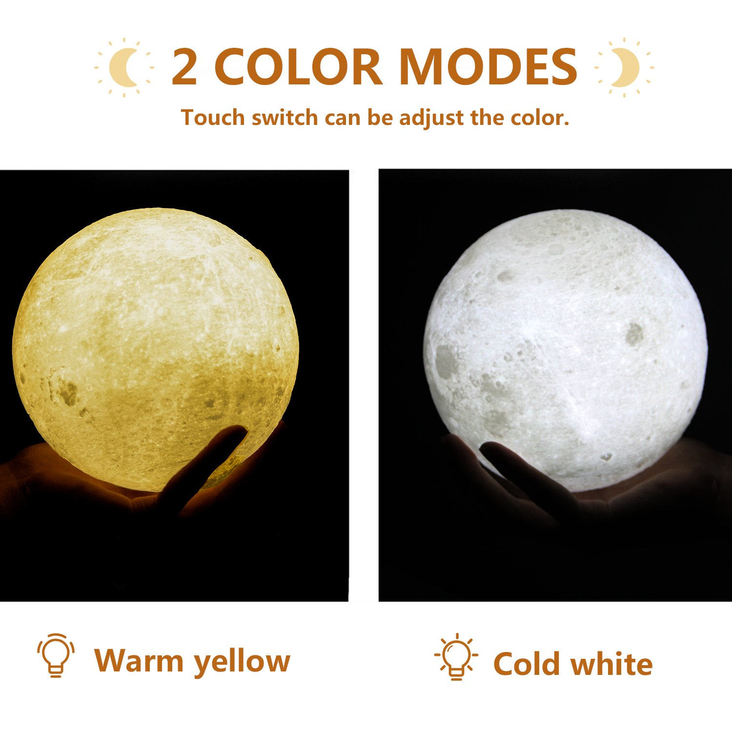 Bealatt Moon Lamp, 3D Printing Moon Light 5.9 Inch Glowing Moon Lamp Touch Control Adjustable Brightness Light Cool and Warm White, Led Night Light with Stand for Kids, Birthday, Bedside by Bealatt (Image #3)
