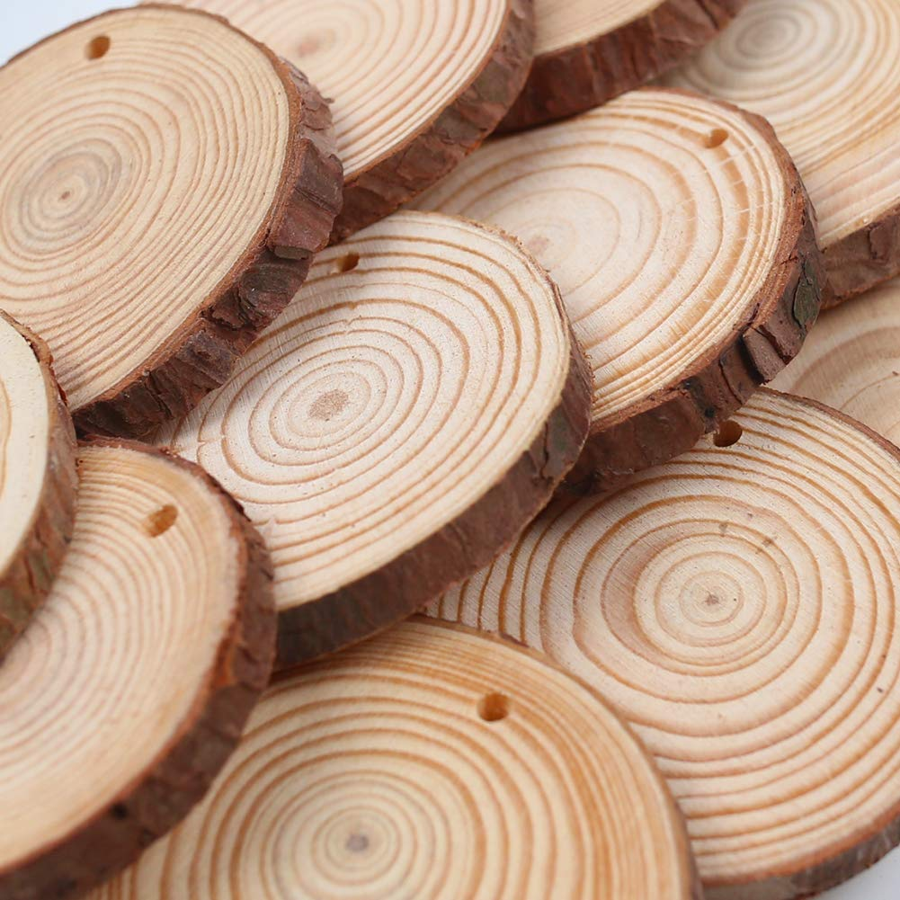 40PCS 2.8-3.1 Unfinished Natural Wood Slices Circles  with Hole Wooden Circles 32.8ft Hemp Rope DIY Craft Christmas rnaments Natural Wood Slices