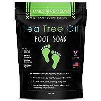 Tea Tree Oil Foot Soak with Epsom Salt - Made in USA - for Toenail Fungus, Athletes...