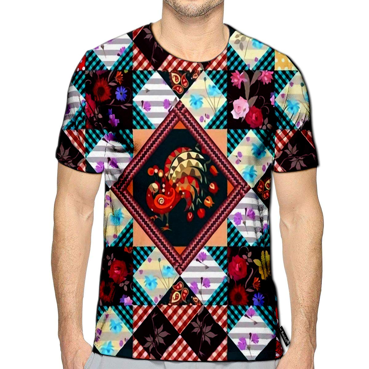 Randell 3D Printed T-Shirts Patchwork with Peacock Zigzag Frame and Various Flowers Beau